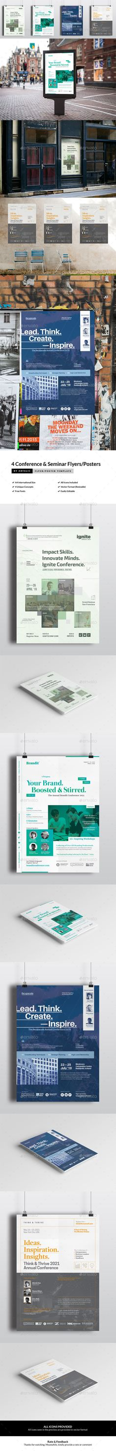 4 Conference \ Seminar Event Roll-up Banners Templates InDesign - workshop flyer template