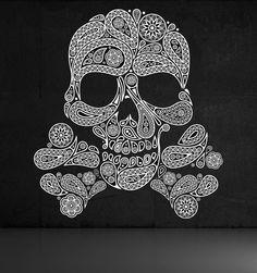 Skull of Paisleys, Crossbones - Decal, Sticker, Vinyl, Wall, Home, Holiday, Bedroom Decor via Etsy