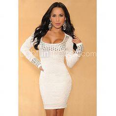 [USD $ 24.49] White Pleated Studded Long Sleeves Dress(Hip:90-104cm Length:105cm)