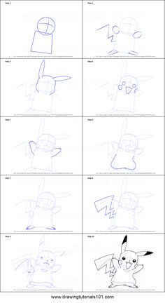 How to Draw Pikachu from Pokemon printable step by step drawing sheet : DrawingTutorials101.com