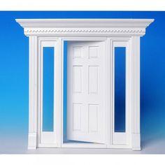 Eingangsportal mit Seitenfenstern (60131). Ein traumhaftes Eingangsportal aus Naturholz, weiß lackiert, für Ihr persönliches Miniatur Traumhaus. Die seitlichen Fenster sind mit echten Glasscheiben versehen. Abmessungen: 86 x 210 mm (BxH). Ausschnittmaße: 78 x 208 mm.