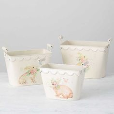 Cream Bunny Decoupage Baskets, Set of 3 | Kirklands