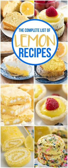 This is the COMPLETE list of lemon recipes from crazyforcrust.com. Everything you love about lemon desserts from pie to cookies and cake and more! via @crazyforcrust
