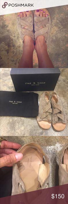 Rag & Bone Elda Sandal 37.5 My Lightly worn Rag and Bone Elda sandal in Warm Grey Suede size 37.5. Love This sandal but too flat for me. Bought from Nordstrom $400. rag & bone Shoes Sandals