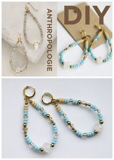 DIY Anthropologie Crystal Teardrop Hoops Tutorial from Hello...