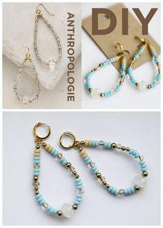 DIY Anthropologie Crystal Teardrop Hoops Tutorial from Hello...