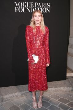 Dree Hemingway wearing a Fall Winter 2015-16 sequined red dress at the Vogue Paris Foundation Gala