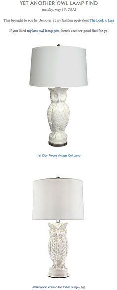 1ST DIBS PIECES VINTAGE OWL LAMP vs JC PENNEY'S CERAMIC OWL TABLE LAMP