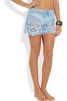 cute baby blue crocheted cotton-lace shorts for summer
