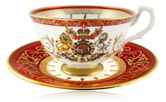 EIIR Diamond Jubilee Coronation Tea Cup and Saucer The official range from the Royal Collection at Buckingham Palace, this English fine bone china commemorates the anniversary of the Coronation which was in