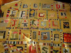 alphabet soup in progress - amazing quilt by Jude Hill aka Spirit Cloth. UnRuly Letter sampler