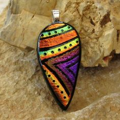 Dichroic Fused Glass Hand Etched  Pendant Fused by GlassCat, $20.00