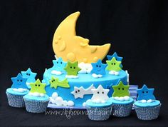 Stars And Moon — Childrens Birthday Cakes Third Birthday, First Birthday Parties, Birthday Party Themes, First Birthdays, Birthday Cakes, Birthday Ideas, You Are My Moon, Cloud Cake, Baby Shower Cakes