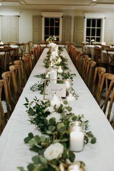 Simple Wedding Centerpieces, Spring Wedding Decorations, Centerpiece Ideas, Long Table Centerpieces, Greenery Centerpiece, Wedding Decor On A Budget, Eucalyptus Centerpiece, Rustic Wedding Table Decorations, Simple Table Decorations