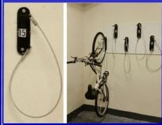 "Wall Mount Bike Racks Wisconsin. Allows bikes to be spaced just 12"" apart. User friendly, Space saving. All welded, Powder coat shiny black finish. #42488 comes with cushion coated security cable that can be looped around frame, both rims and locked. Free bike room layouts. P(888)963-5355. Wall mount bike racks Wisconsin."