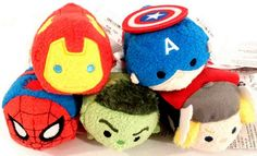 Marvel Tsum Tsum Collection - Iron Man, Captain America, Spider-Man, The Incredible Hulk, and Thor