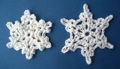 These crocheted Snowflakes are super-easy to make, and super-addictive. They are worked up in three quick rounds, and you can vary the size of them depending on which hook size you choose. In the above photo, I used a DK...