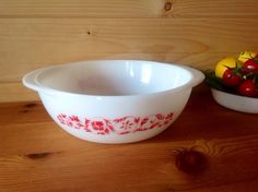 Vintage 1966 JAJ Pyrex Dianthus Folly In Red 35 Pint Casserole Dish by Onmykitchentable Vintage on Gourmly