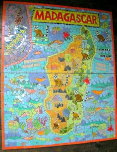OUR MADAGASCAR MOSAIC IN FLORIDA AQUARIUM, TAMPA Tampa Aquarium, Mosaic Art, Home Art, Stained Glass, Kids Rugs, Madagascar, Florida, Painting, Inspiration