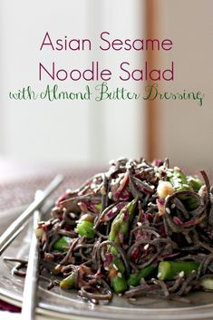This vegan version of Asian Sesame Noodle Salad with Almond Butter Dressing is the perfect dish to celebrate spring! It's made with gluten free black bean noodles, fresh asparagus and beautiful purple cabbage. Raw Vegan Recipes, Veggie Recipes, Lunch Recipes, Asian Recipes, Vegetarian Recipes, Paleo, Healthy Recipes, Noodle Recipes, Vegan Meals