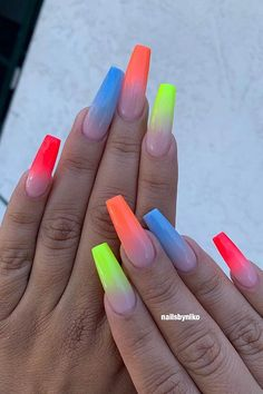 Want some ideas for wedding nail polish designs? This article is a collection of our favorite nail polish designs for your special day. Read for inspiration Pink Summer Nails, Pink Ombre Nails, Neon Nails, Neon Nail Art, Colorful Nail Art, Acrylic Nails Coffin Short, Pink Acrylic Nails, Coffin Shape Nails, Fabulous Nails