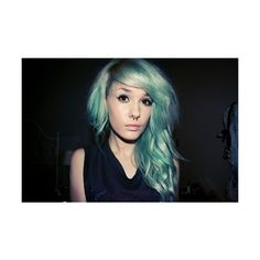 Girl With Wavy Curly Pastel Green Hair Septum Ring ❤ liked on Polyvore