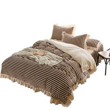 US $81.84 Svetanya stripe flannel Bedding Sets Queen King Size Quilt Cover Bed skirt pillowcase. Aliexpress product