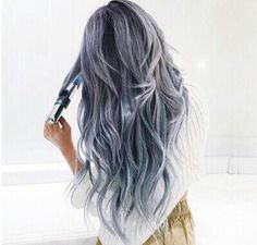 Gray blue purple hair awesome & crazy hair color dyes ideas beautiful a Grey Hair Wig, Dye My Hair, Brown Hair, Blue Purple Hair, Pastel Blue, Hair Dye Colors, Mermaid Hair, Mermaid Waves, Crazy Hair