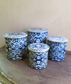 Delft Nesting Tins, Blue and White Tin Canister Set, Set of 4 Kitchen Storage Tins Holland by MinniesFlea on Etsy