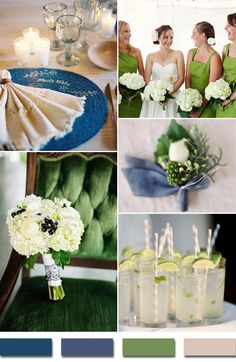 2015 trends royal blue and kelly green wedding color palettes
