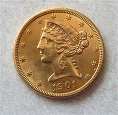 1901 Liberty Head Gold Half Eagle 5 Dollar US Coin Featured in our upcoming auction on June 14!