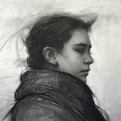 Jeremy Lipking A charcoal drawing of Skylar for the drawing show at @arcadiagallery