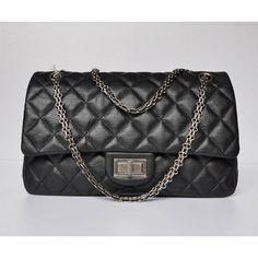 Chanel Flap 28668 Crumpled Black Silver Classic Bag