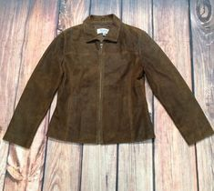 WILSONS Leather Maxima Brown Seude Leather Lined Button Jacket Women s Sz  Medium  1d4c35085f71