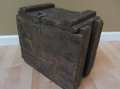 Vintage midcentury Ammo Crate solid wood with metal by TMRestoArts, $45.99