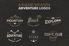 Hand Drawn Adventure Logos by Rich Graphic on @creativemarket