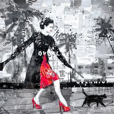 "Collage {Derek Gores} taking ""kitty"" for a walk.  I'm sure kitty isn't too happy. Neither a, I."