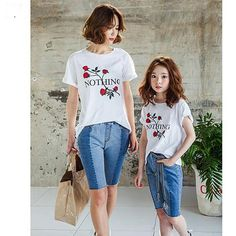 0efd93f0d7bdaa Casual Nothing Letter Rose Print Short Sleeve Mother and Daughter Matching  T-Shirts