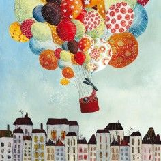 Tableau Ballons in volo by Manuela Magni (20 x 20 cm) - Lilipinso