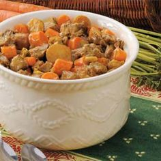 Autumn Beef Stew Recipe- Recipes  Let the aroma of this savory supper welcome you home after work. Chock-full of tender beef, hearty potatoes and colorful carrots, this down-home dinner is a staple at Margaret Shauers' kitchen in Great Bend, Kansas.