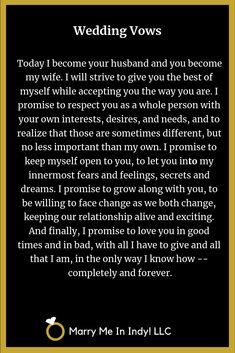 Simple Wedding Vows, Love Poems Wedding, Wedding Scripture, Wedding Vows Examples, Romantic Poems, Nontraditional Wedding, Wedding Ideas, Wedding Ceremony, Wedding Stuff