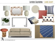 layered eclectic california living room mood board e-design by 3adesignstudio