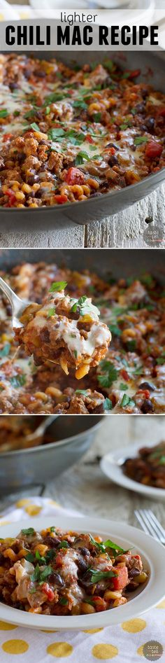A childhood comfort food - made lighter! This Lighter Chili Mac Recipe takes a favorite from everyone's childhood and turns it into a delicious dinner.