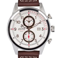 Jules Breting Adama Men's Swiss Chronograph Quartz Brown Leather Strap Watch