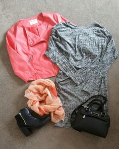 coral and grey outfit