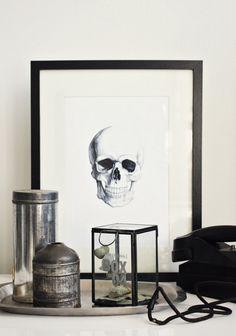 Skull on white// Lasilaatikko - Likainen Parketti Interior Styling, Interior Decorating, Black And White Interior, Black White, Skull And Bones, Modern Retro, My Living Room, Home Decor Inspiration, Vignettes