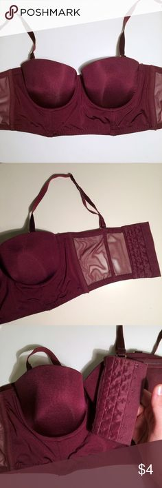 H&M 34D Cranberry Bustier Bra A cranberry-colored bustier bra from H&M. Detachable straps/converts to strapless. Lined but not padded. Some wear but good condition. Size 34D. H&M Intimates & Sleepwear Bras