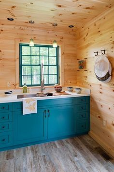 rustic kitchen with teal cabinets Woodmeister Master Builders Blue Kitchen Decor, Kitchen Colors, Rustic Kitchen, Kitchen Ideas, Teal Cabinets, Turquoise Kitchen Cabinets, Shaker Cabinets, Knotty Pine Walls, Knotty Pine Cabinets