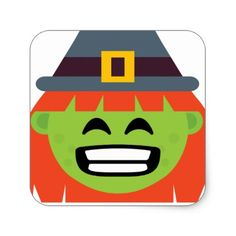 witch All Emoji Halloween Square Sticker - thanksgiving stickers holiday family happy thanksgiving