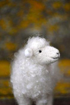 Needle Felted Wool Sheep Sculpture - Needle Felted Animal - Lamb.